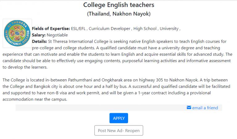 esl job in thailand